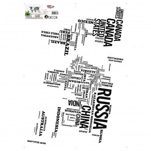 Sticker decorativ perete, living, Word Map, PT3003 TR, 50 x 70 cm