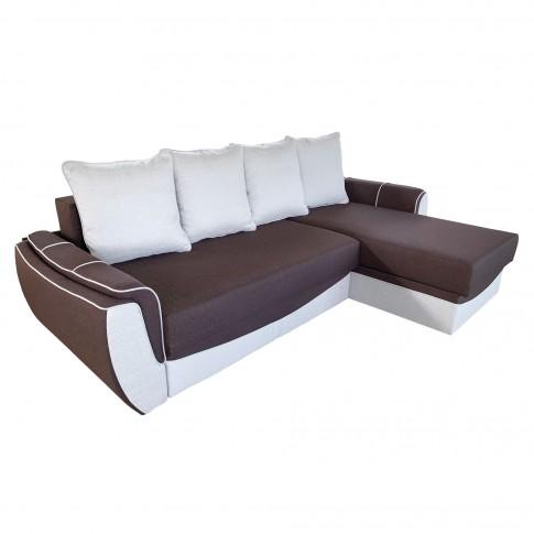 Coltar living extensibil pe stanga / dreapta Venezia, cu lada, maro + crem, 256 x 165 x 90 cm, 4C