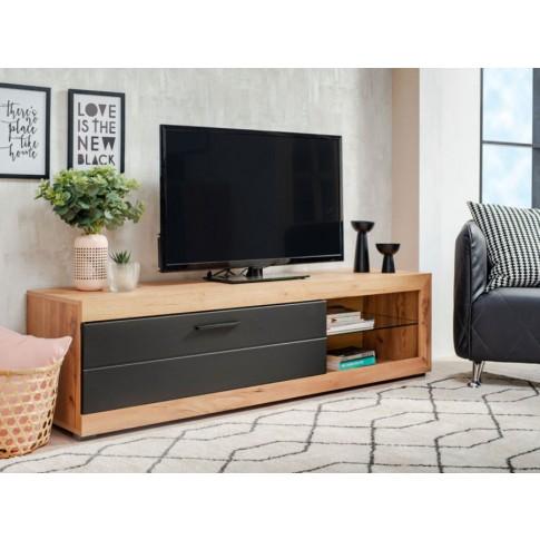 Comoda TV Remo, stejar auriu + folie mata neagra, 162 x 41.5 x 43.5 cm, 1C