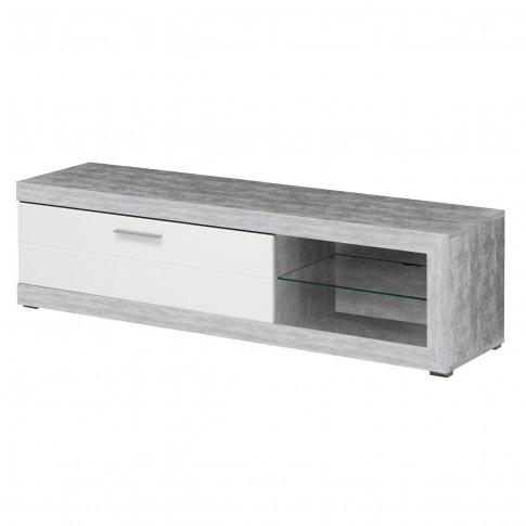Comoda TV Remo, beton + folie lucioasa alba, 162 x 41.5 x 43.5 cm, 1C