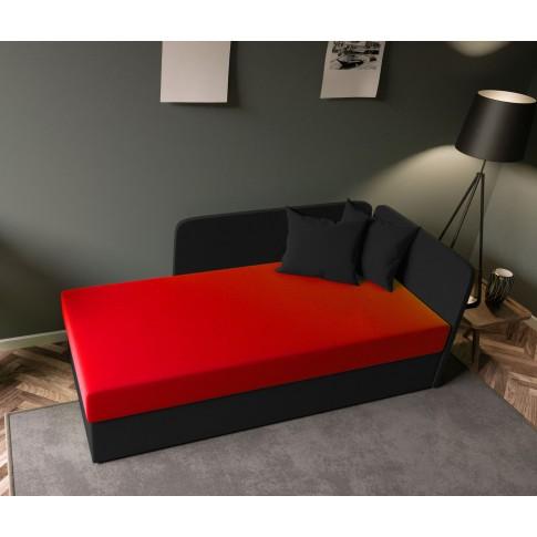 Pat dormitor Sole, o persoana, tapitat, pe stanga, cu lada, negru + rosu, 80 x 190 cm, 2C