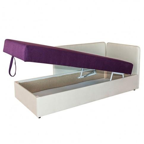 Pat dormitor Sole, o persoana, tapitat, pe stanga, cu lada, crem + mov, 80 x 190 cm, 2C