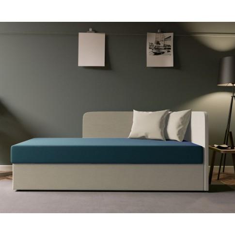 Pat dormitor Sole, o persoana, tapitat, pe stanga, cu lada, crem + albastru, 80 x 190 cm, 2C