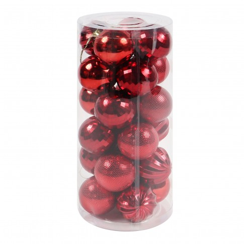 Globuri Craciun, rosii, D 6 cm, set 24 bucati, SD18-A1R