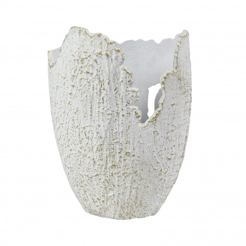 Vaza decorativa AL1790/S, din aluminiu, alb + auriu, 24 x 17 x 33 cm