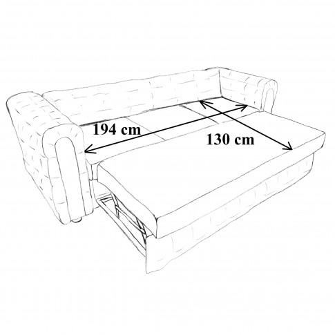 Canapea extensibila 3 locuri Carol, bej, 245 x 90 x 77 cm, 3C