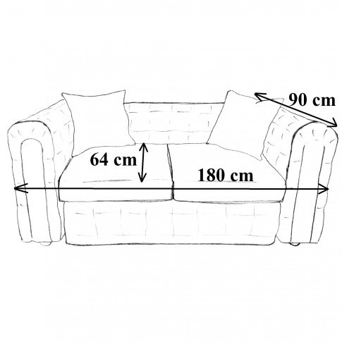 Canapea fixa 2 locuri Carol, bej, 90 x 180 x 77 cm, 3C