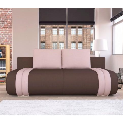 Canapea extensibila 3 locuri Ianis, cu lada, maro + roz, 190 x 92 x 86 cm, 1C
