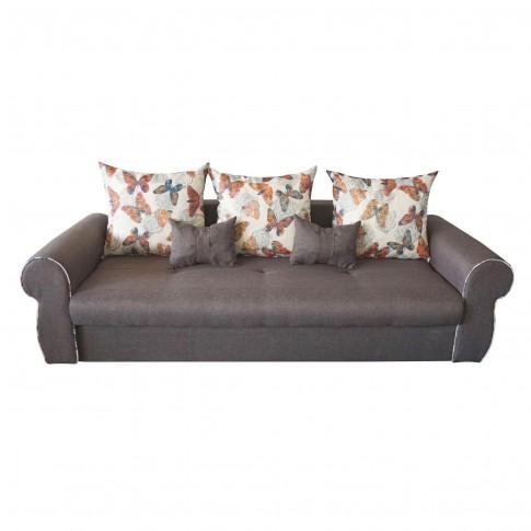 Canapea extensibila 3 locuri Alina, cu lada, maro, 230 x 105 x 90 cm, 4C