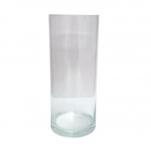 Vaza decorativa, cilindrica, din sticla transparenta, 12 x 30 cm