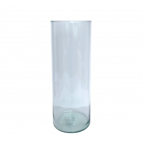 Vaza decorativa, cilindrica, din sticla transparenta, 15 x 40 cm