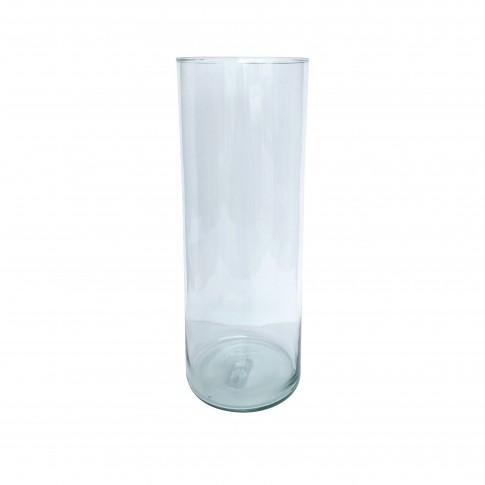 Vaza decorativa, cilindrica, din sticla transparenta, 15 x 50 cm