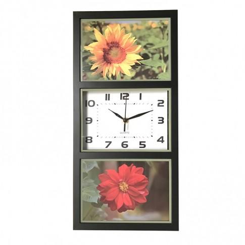 Ceas perete YQ0273, analog, dreptunghiular, din plastic, 40 x 21 cm