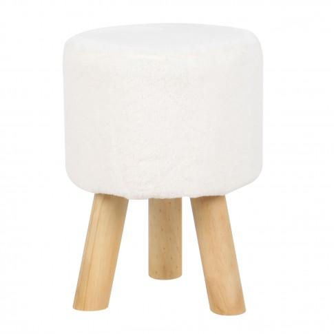 Taburet Rowena fix, rotund, blana alba, 32 x 32 x 45 cm