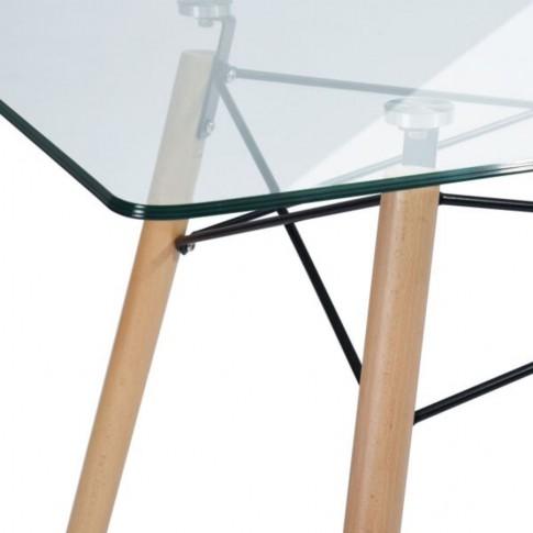 Masa bucatarie fixa Celine, dreptunghiulara, din sticla, 120 x 70 x 72 cm, 1C