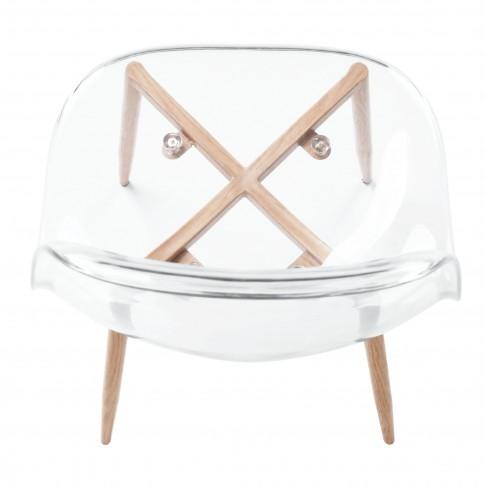 Scaun bucatarie / living fix Charlton, otel stejar + plastic transparent