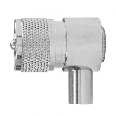 Mufa tata PNI UHF PL259, iesire la 90 grade, otel inoxidabil