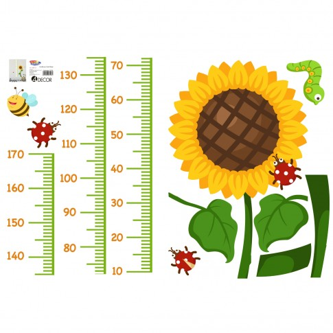 Sticker decorativ perete, camera copii, Floarea soarelui, PT3708, 2 x 50 x 70 cm