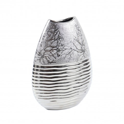 Vaza ceramica decorativa, M4856, argintiu, model in relief, H 25 cm