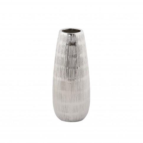 Vaza ceramica decorativa, C15428, argintiu, model in relief, 31 x 6 cm