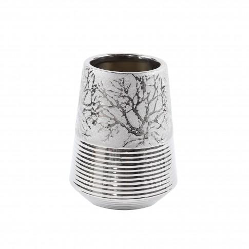 Vaza ceramica decorativa, C15785, argintiu, model in relief, 20 x 9.5 cm