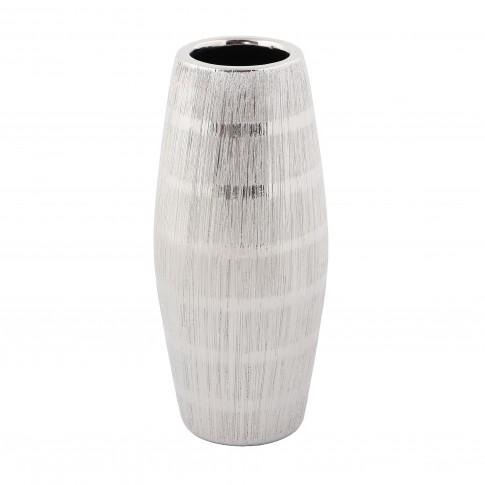 Vaza ceramica decorativa, M6737LGD, argintiu, model in relief, 25 x 6 cm