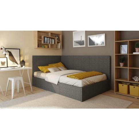 Pat dormitor Mira, o persoana, tapitat, gri, 120 x 200 cm, 4C