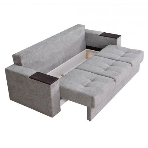 Canapea extensibila 3 locuri Dante S, cu lada, gri, 235 x 96 x 77 cm, 4C