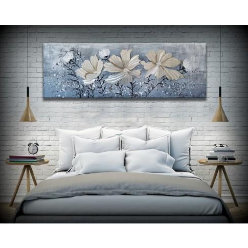 Tablou canvas DED-197118, compozitie cu flori in relief, panza, 40 x 120 cm