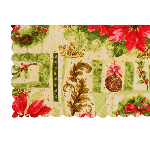 Fata de masa Craciun, model Red Flower, poliester, rosu+verde, 150 x 220 cm