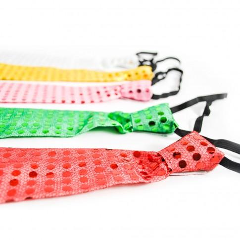 Cravata Party, cu paiete, diverse culori, set 3 bucati