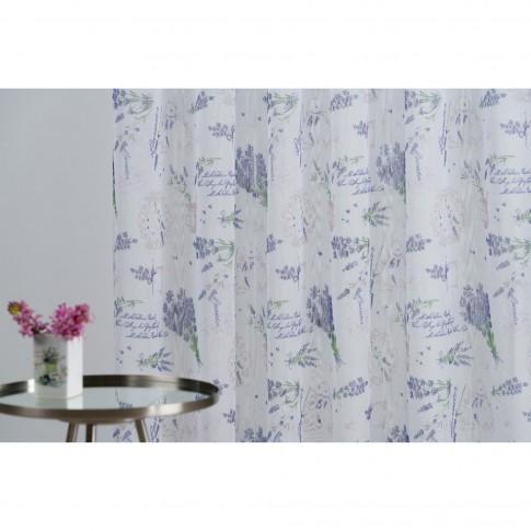 Perdea Almeria, poliester, mov, model lavanda, H 280 cm