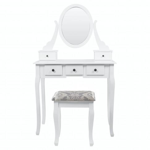 Masa toaleta + scaun Gstaad, cu sertare si oglinda, alba, 80 x 40 x 136 cm