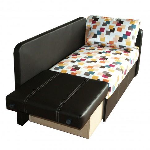 Canapea extensibila 2 locuri Mickey, dreapta, cu lada, wenge + multicolor, 142 x 75 x 80 cm, 1C