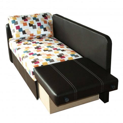 Canapea extensibila 2 locuri Mickey, stanga, cu lada, wenge + multicolor, 142 x 75 x 80 cm, 1C