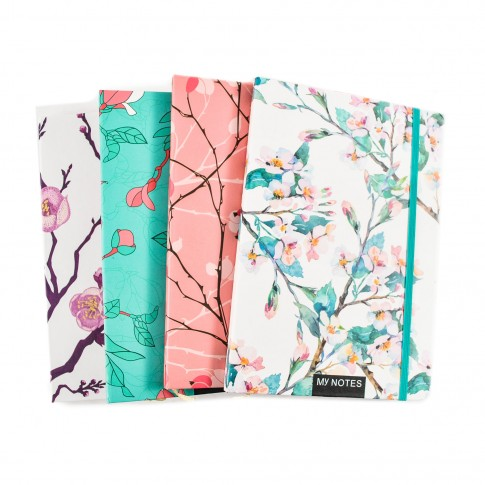 Agenda tip notes, Floral, diverse modele, 80 pagini, 14.5 x 21 cm