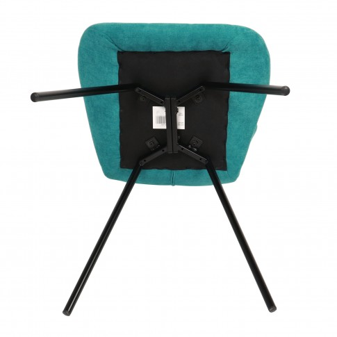 Scaun bucatarie / living fix Elodi, tapitat, otel negru + stofa turcoaz
