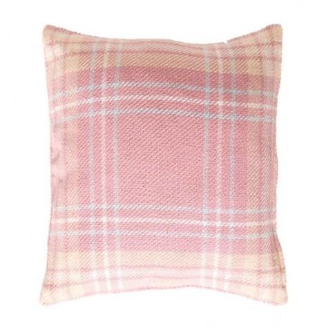 Cuvertura de pat, TECUV077102, bumbac 100%, 125 x 150 cm, model carouri, roz + fata de perna