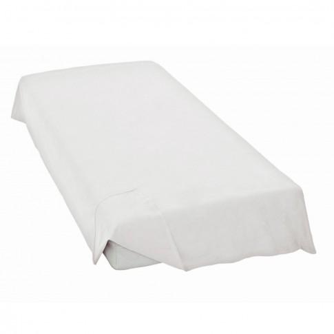 Cearceaf de pat Caressa Weiss, 100 % bumbac satinat, alb, 200 x 240 cm