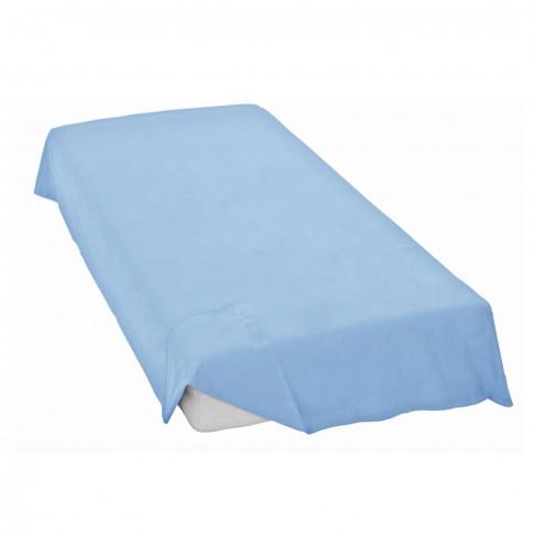 Cearceaf de pat Caressa Aqua, 100 % bumbac satinat, albastru, 200 x 240 cm