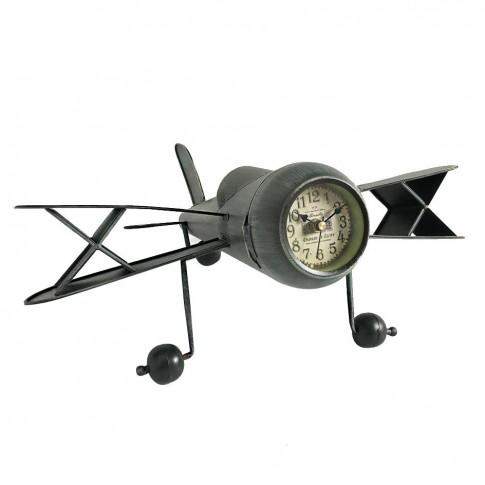 Ceas birou KLM5921, forma avion, metalic, analog, 44.5 x 39.5 x 20 cm