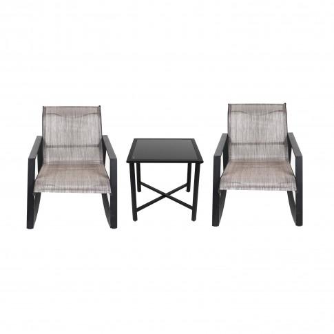 Set masa patrata, cu 2 scaune balansoar, pentru gradina Victoria