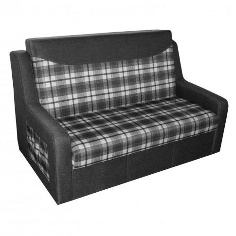 Canapea extensibila 2 locuri Celinne, cu lada, stofa, gri + model carouri, 148 x 90 x 95 cm, 1C