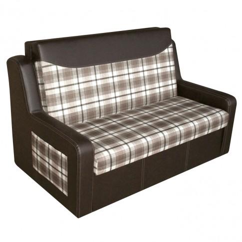 Canapea extensibila 2 locuri Celinne, cu lada, maro + model carouri, 148 x 90 x 95 cm, 1C