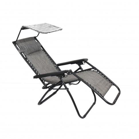 Scaun camping pliant Relax, structura metalica, cu protectie solara, gri, 173 x 109 cm