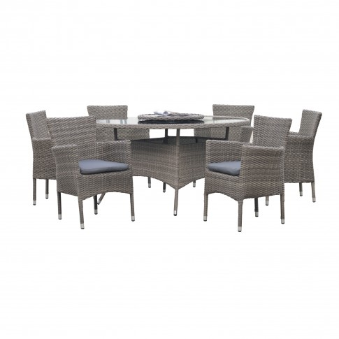 Set masa rotunda, cu 6 scaune cu perne, pentru gradina Chicago, din metal cu ratan sintetic
