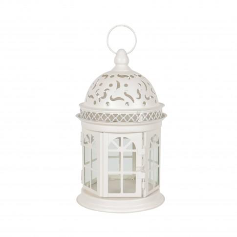 Felinar decorativ C001KQ, metalic, alb, H 20 cm