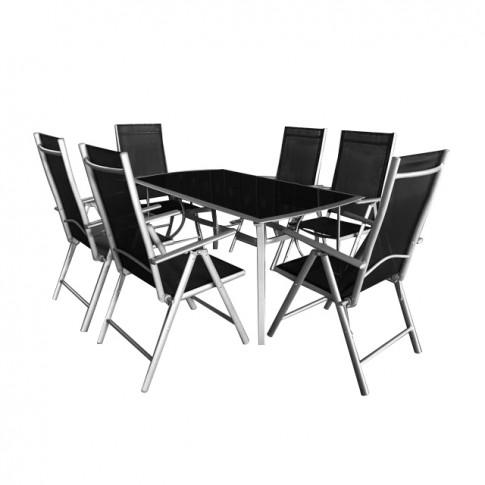 Set masa dreptunghiulara, cu 6 scaune pentru gradina Sevilia, din metal + textilen