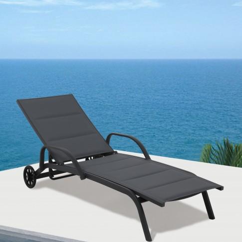 Sezlong plaja Almada, cu spatar reglabil, structura metal, negru, 193 x 70 x 30 / 92.5 cm