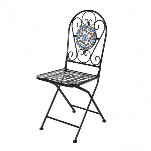 Set masa rotunda, cu 2 scaune pliante, pentru gradina Paris, din metal cu mozaic